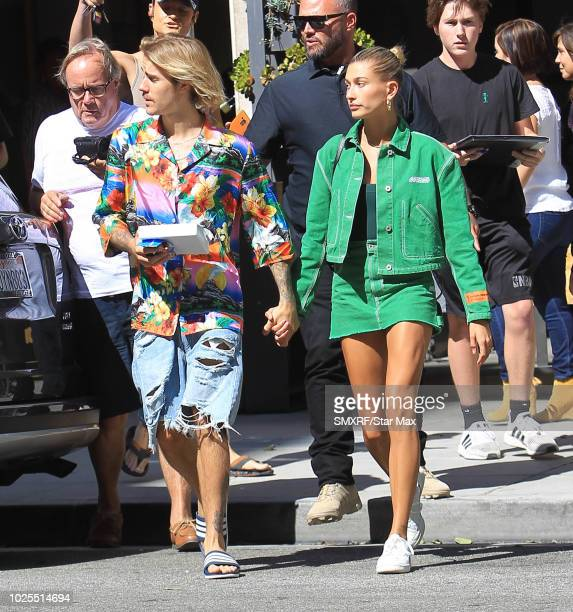 Justin Bieber and Hailey Baldwin are seen on August 30 2018 in Los Angeles CA