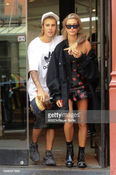 Justin Bieber and Hailey Baldwin are seen on July 27 2018 in New York City