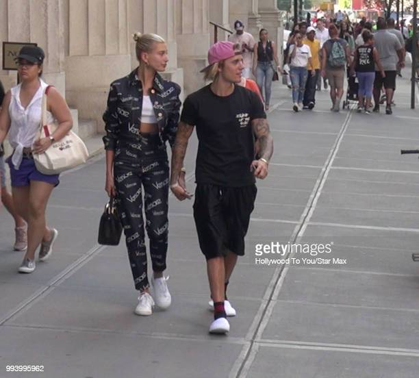 Justin Bieber and Hailey Baldwin are seen on July 5 2018 in New York City