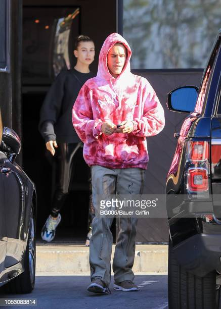 Justin Bieber and Hailey Baldwin are seen on October 24 2018 in Los Angeles California