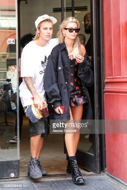 Justin Bieber and Hailey Baldwin are seen shopping in TriBeCa on July 27 2018 in New York New York