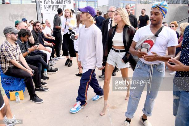 Justin Bieber and Hailey Baldwin attend the John Elliott front row during New York Fashion Week The Shows on September 6 2018 in New York City