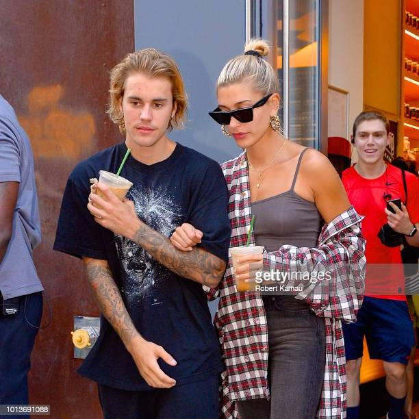 Justin Bieber and Hailey Baldwin seen out and about in Manhattan on August 8 2018 in New York City