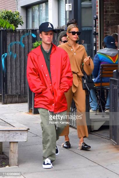 Justin Bieber and Hailey Baldwin seen out and about in Manhattan on May 3, 2019 in New York City.