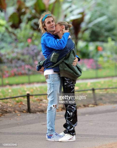 Justin Bieber and Hailey Baldwin seen with a very public embrace during a walk in London's Hyde Park on September 17 2018 in London England