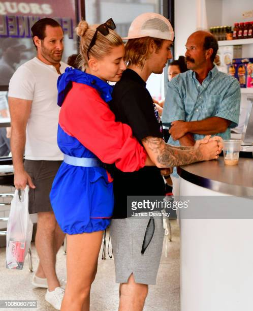 Justin Bieber and Hailey Baldwin visit Frankel's Delicatessen in Brooklyn on July 30 2018 in New York City
