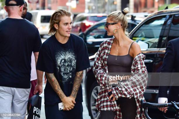 Justin Bieber and Hailey Baldwin visit Honeybrains on Lafayette Street on August 8 2018 in New York City