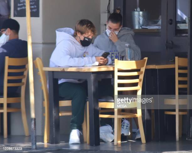 Justin Bieber and Hailey Bieber are seen at brunch on September 23 2020 in Los Angeles California