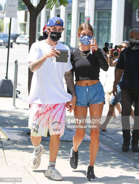 Justin Bieber and Hailey Bieber are seen on August 25, 2020 in Los Angeles, California.