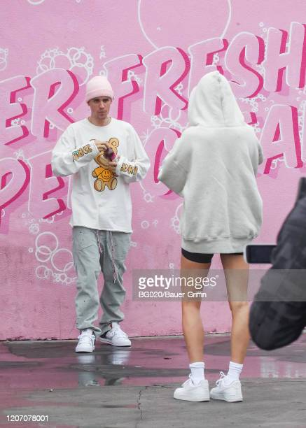 Justin Bieber and Hailey Bieber are seen on March 13 2020 in Los Angeles California