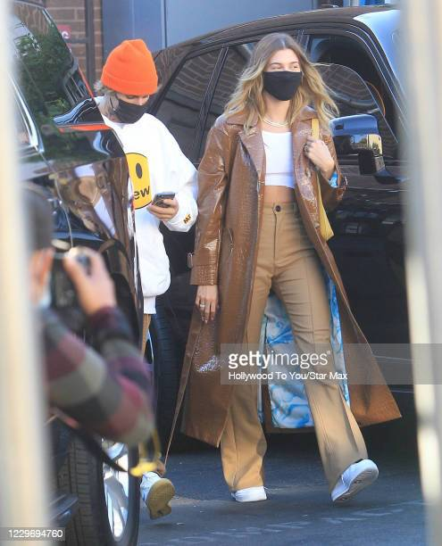 Justin Bieber and Hailey Bieber are seen on November 19, 2020 in Los Angeles, California.
