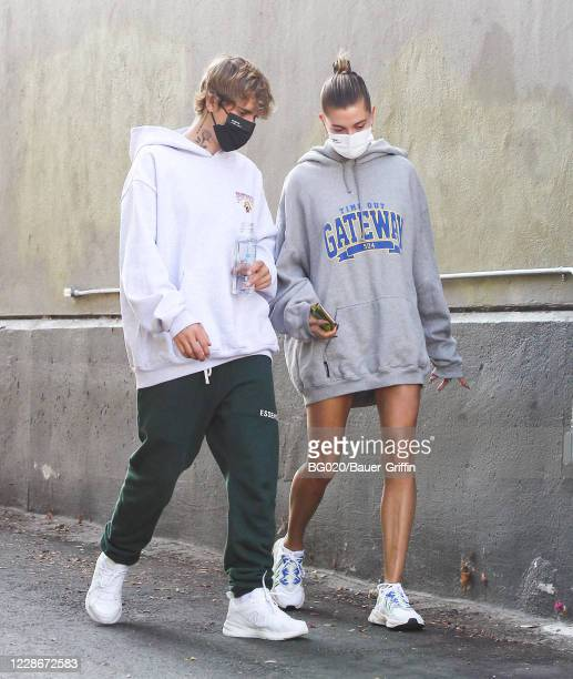 Justin Bieber and Hailey Bieber are seen on September 23, 2020 in Los Angeles, California.