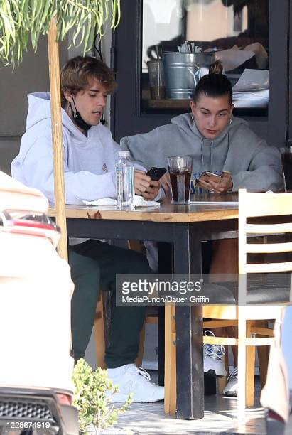 Justin Bieber and Hailey Bieber are seen on September 23 2020 in Los Angeles California