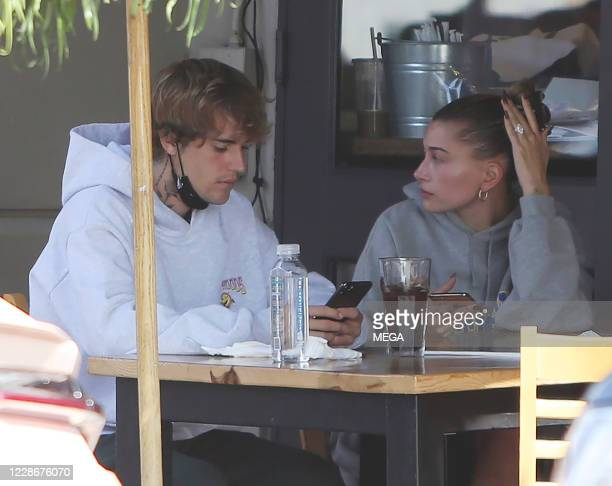 Justin Bieber and Hailey Bieber are seen out for lunch on September 23 2020 in Los Angeles California
