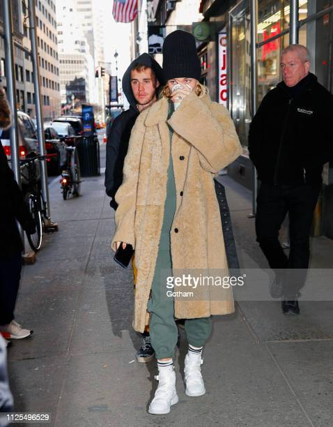 Justin Bieber and Hailey Bieber out and about on February 17, 2019 in New York City.
