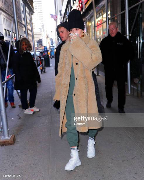 Justin Bieber and Hailey Bieber out and about on February 17 2019 in New York City