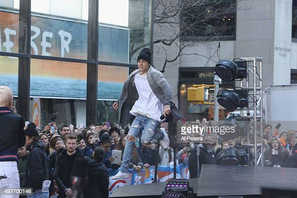 Justin Bieber and Halsey perform on NBC's 'Today' Show at the Rockefeller Plaza on November 18 2015 in New York New York