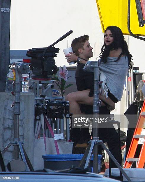 Justin Bieber and his girlfriend Selena Gomez are seen on the set of his music video 'Boyfriend' on April 21 2012 in Los Angeles California
