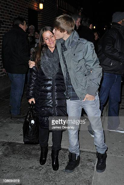 Justin Bieber and his mother Pattie Mallette visit 'Late Show With David Letterman' at the Ed Sullivan Theater on January 31 2011 in New York City