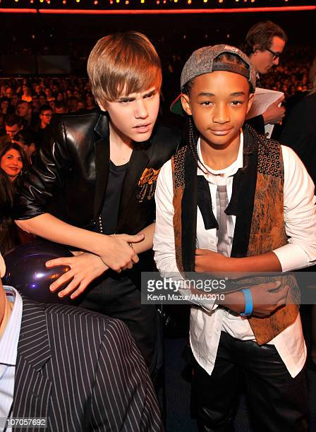 Justin Bieber and Jaden Smith in the audience at the 2010 American Music Awards held at Nokia Theatre LA Live on November 21 2010 in Los Angeles...