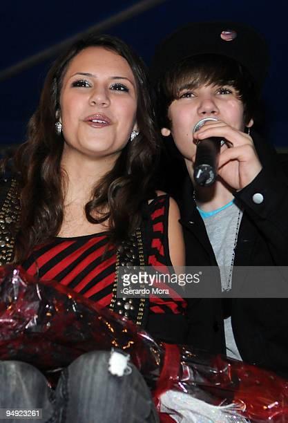 Justin Bieber and Jasmine Sagginario perform during Radio Disney concert at Celebration Town Center on December 19 2009 in Orlando Florida
