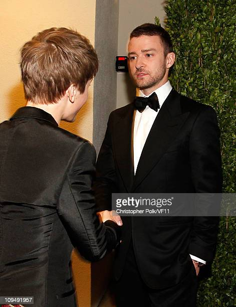 Justin Bieber and Justin Timberlake attend the 2011 Vanity Fair Oscar Party Hosted by Graydon Carter at the Sunset Tower Hotel on February 27 2011 in...