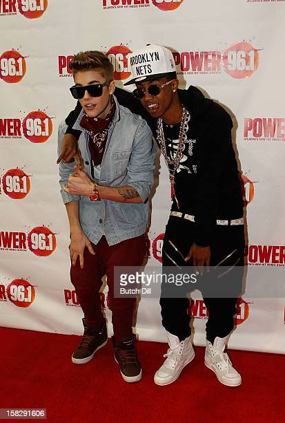 Justin Bieber and Lil Twist attend Power 961's Jingle Ball 2012 at the Philips Arena on December 12 2012 in Atlanta