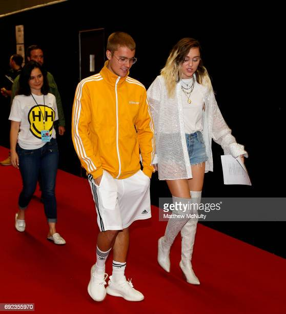 Justin Bieber and Miley Cyrus during the One Love Manchester concert at Old Trafford Cricket Ground Cricket Club on June 4 2017 in Manchester England