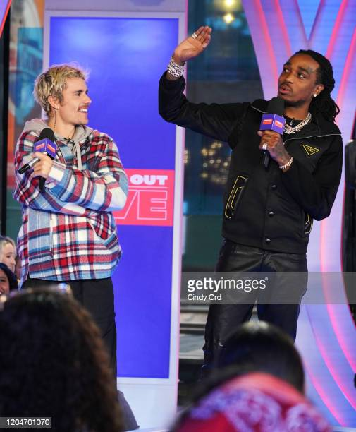 """Justin Bieber and Quavo appear onstage at MTV's """"Fresh Out Live"""" on February 07, 2020 in New York City."""