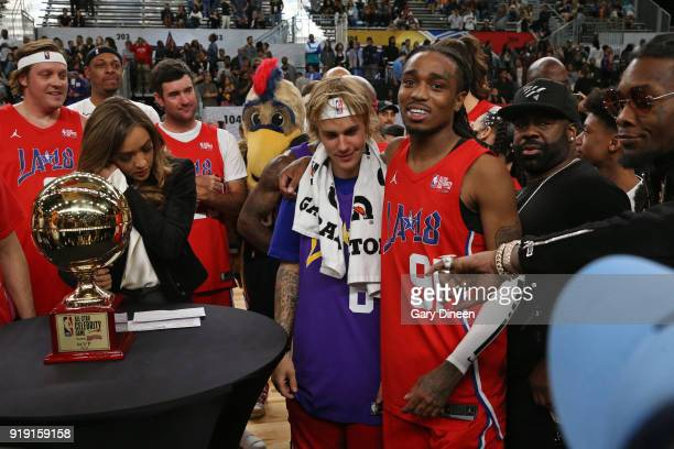 Justin Bieber and Quavo hug after the game the NBA AllStar Celebrity Game presented by Ruffles as a part of 2018 NBA AllStar Weekend at the Los...