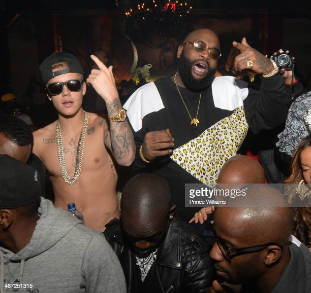 Justin Bieber and Rick Ross attend Ciroc party at Vanquish Lounge on February 5 2014 in Atlanta Georgia