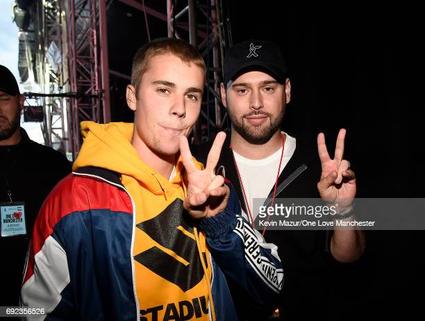 Justin Bieber and Scooter Braun backstage during the One Love Manchester Benefit Concert at Old Trafford Cricket Ground on June 4 2017 in Manchester...