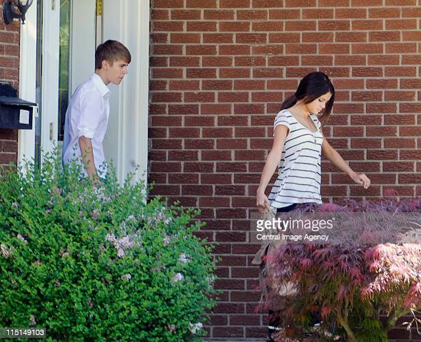 Justin Bieber and Selena Gomez seen on the streets of Stratford on June 3 2011 in Stratford Canada