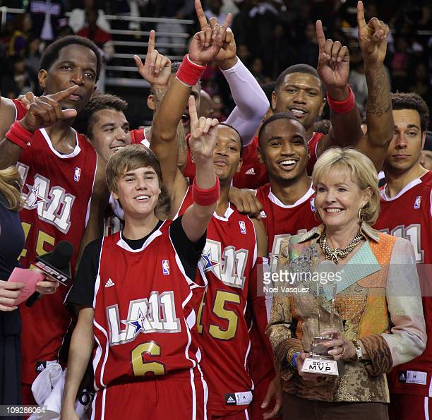 Justin Bieber and team West celebrate at the 2011 BBVA NBA AllStar Celebrity Game at the Los Angeles Convention Center on February 18 2011 in Los...