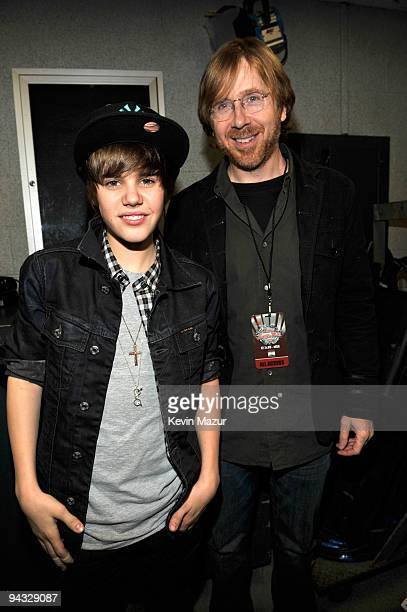 NEW YORK DECEMBER 11 *EXCLUSIVE* Justin Bieber and Trey Anastasio of Phish attends Z100's Jingle Ball 2009 presented by HM at Madison Square Garden...