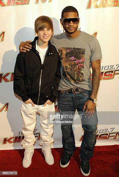 Justin Bieber and Usher attend KIIS FM's Wango Tango 2010 at Staples Center on May 15 2010 in Los Angeles California