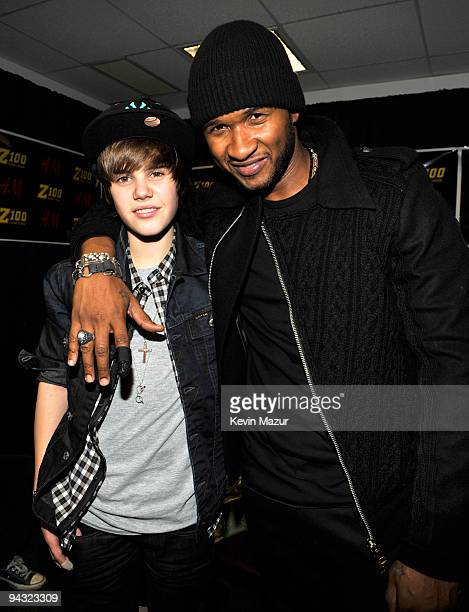 NEW YORK DECEMBER 11 *EXCLUSIVE* Justin Bieber and Usher attends Z100's Jingle Ball 2009 presented by HM at Madison Square Garden on December 11 2009...
