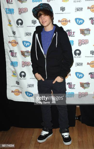 Justin Bieber arrives at the launch of his new CD At The Hard Rock Cafe Hollywood on November 17 2009 in Universal City California