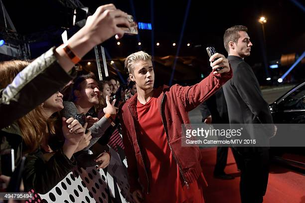 Justin Bieber arrives at the MTV EMA's 2015 at Mediolanum Forum on October 25 2015 in Milan Italy