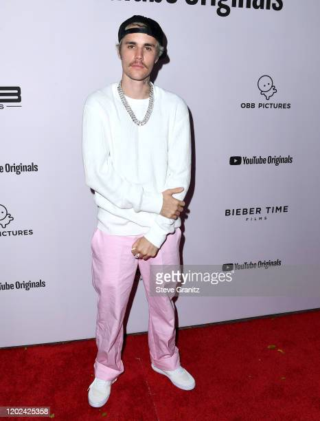 Justin Bieber arrives at the Premiere Of YouTube Originals' Justin Bieber Seasons at Regency Bruin Theatre on January 27 2020 in Los Angeles...