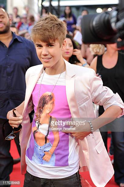 Justin Bieber arrives on the red carpet at the 22nd Annual MuchMusic Video Awards at the MuchMusic HQ on June 19 2011 in Toronto Canada