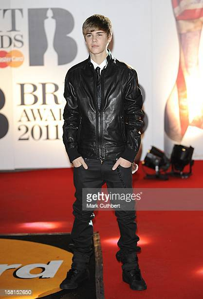 Justin Bieber Arriving For The 2011 Brit Awards At The O2 Arena London