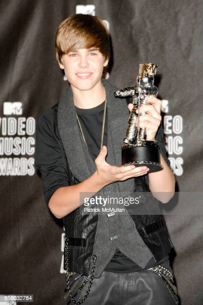 Justin Bieber attends 2010 MTV Video Music Awards Press Room at Nokia Theatre LA Live on September 12 2010 in Los Angeles California