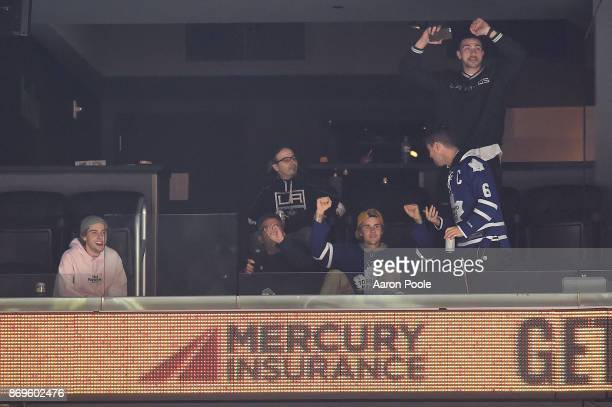 Justin Bieber attends a game between the Toronto Maple Leafs and the Los Angeles Kings at STAPLES Center on November 2 2017 in Los Angeles California