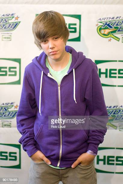 Justin Bieber attends the 2009 Arthur Ashe Kids Day at the USTA Billie Jean King National Tennis Center on August 29 2009 in Corona New York