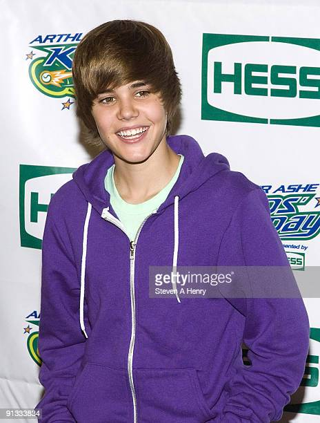 Justin Bieber attends the 2009 Arthur Ashe Kids Day at the USTA Billie Jean King National Tennis Center on August 29 2009 in New York City