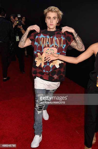 Justin Bieber attends the 2015 American Music Awards at Microsoft Theater on November 22 2015 in Los Angeles California