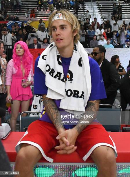 Justin Bieber attends the 2018 NBA AllStar Game Celebrity Game at Los Angeles Convention Center on February 16 2018 in Los Angeles California