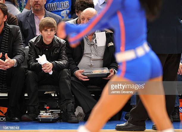 Justin Bieber attends the Dallas Mavericks vs New York Knicks game at Madison Square Garden on February 2 2011 in New York City