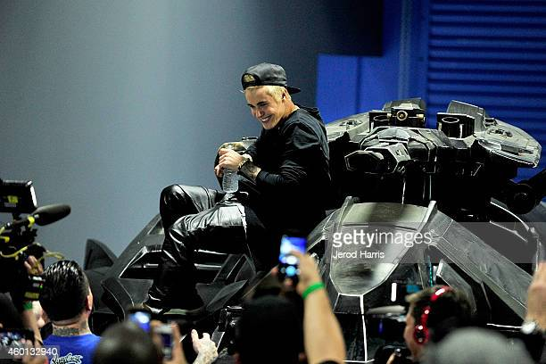 Justin Bieber attends the Grand Opening of West Coast Customs Burbank Headquarters on December 7 2014 in Burbank California